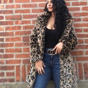 Zara animal print leopard faux fur coat size M